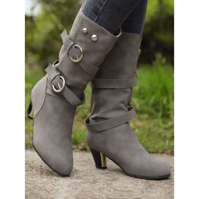 Women Mid Calf Boots Grey Round Toe Buckle Wide Calf Boots Boots #10700921904