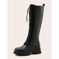 Women's Lace Up Mid Calf Boots with Platform Cheap #10700967452
