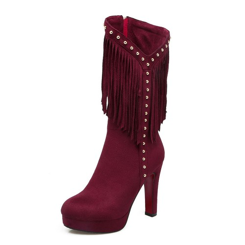 Womens Mid Calf Boots Burgundy Round Toe 4.5 Boots With Tassels outlet #10700884510