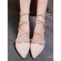 Ballet Flats Apricot Terry Pointed Toe Lace Up Ballerina Flats The Best Brand #113180950800