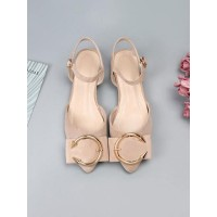 Ballet Flats Apricot Terry Pointed Toe Metal Details Ankle Strap Ballerina Flats Top Sale #113180950856