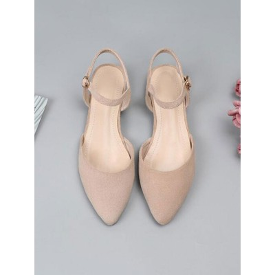 Ballet Flats Black Terry Pointed Toe Ankle Strap Ballerina Flats sale online #113180950796