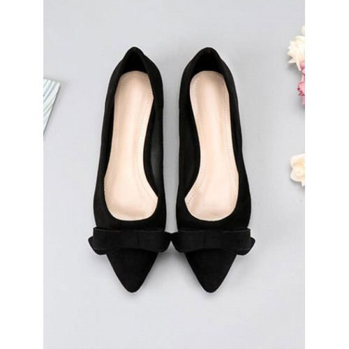 Ballet Flats Black Terry Pointed Toe Bows Slip-On Terry Ballerina Flats Or Sale Near Me #113180950820