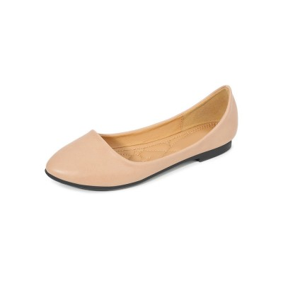 Ballet Flats Deep Apricot PU Leather Pointed Toe White Ballerina Flats #113180950916