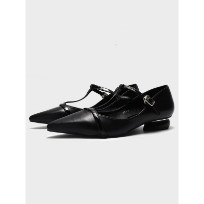 Black Ballet Flats For Women PU Leather Pointed Toe T-Type Bandage PU Leather Ballerina Flats 2021 #113180942460