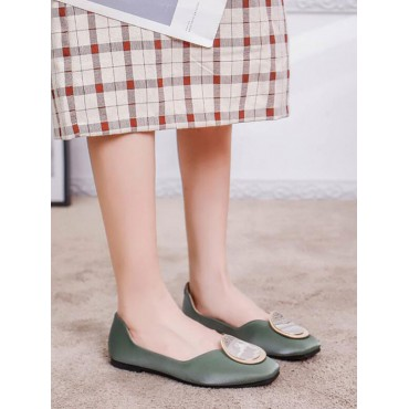 Women Flat Shoes Green Pointed Toe Metal Details PU Leather Ballerina Flats Best #113180942440
