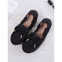 Womens Ballerinas Flats Black PU Leather Round Toe Casual Flat Shoes New Look #113180936004