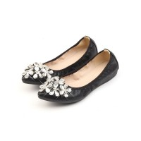 Womens Ballerinas Flats Black PU Leather Round Toe Daily Casual Flat Shoes #113180936002