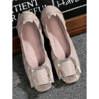 Womens Ballet Flats Apricot PU Leather Square Toe Casual Ballerina Flats boutique #113180936016