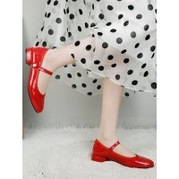 Womens Ballet Flats Red PU Leather Round Toe Daily Casual Ballerina Flats Trend #113180936944