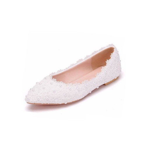 Womens Ballet Flats White Faux Leather Pointed Toe Flowers Plus Size Ballerina Flats #113180936932