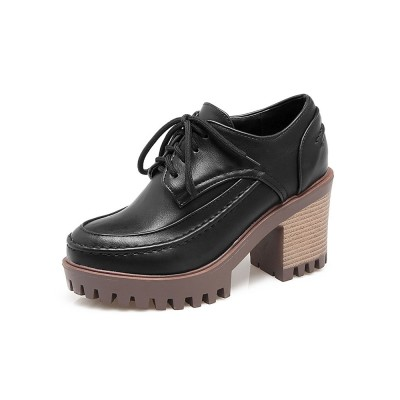 Black Oxford Shoes Women Round Toe Chunky Heel Lace Up Shoes Deals #16100802196