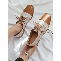 Brown Oxfords Women Square Toe Lace Up Casual Shoes On Sale #16100915046