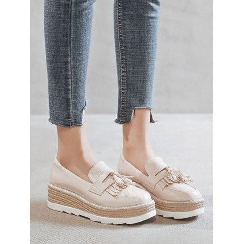 Women Flatform Oxfords Apricot Round Toe Leather Slip On Shoes new look #16100912966