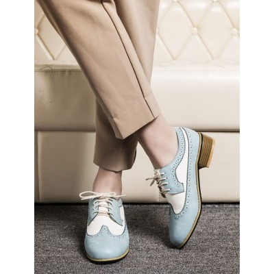 Women Oxfords Classic Round Toe Lace Up Leather Oxford Shoes new in #16100915004