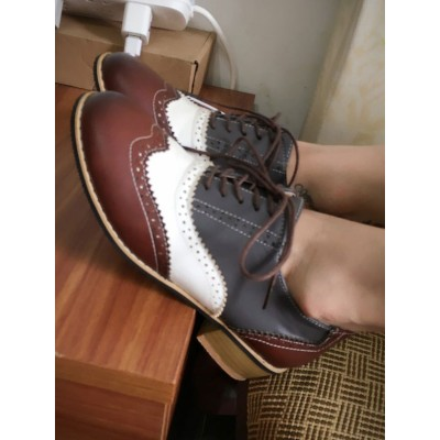 Women Oxfords Classic Round Toe Leather Lace Up Casual Shoes #16100915002