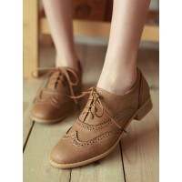 Women's Brown Lace Up Wingtip Brogues Casual Oxfords Trend #16100915038