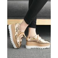 Women's Gold Lace Up Oxfords Platform Shoes Casual Shoes At Target #16740845082