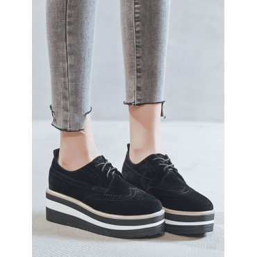 Women's Trendy Oxfords Chic Round Toe Suede Leather Black Shoes new look #16100923142