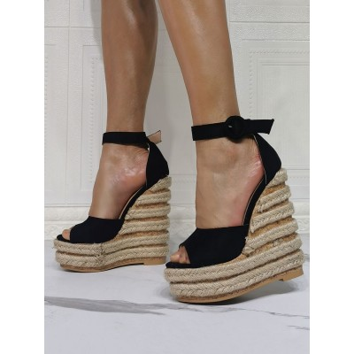 Black Wedge Sandals For Women Beautiful Open Toe Micro Suede Upper Ankle Strap Wedge Sandals Boutique #32680940608