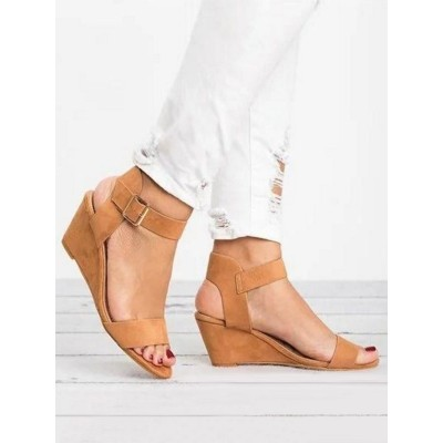 Coffee Brown Wedge Sandals For Women Beautiful Terry Open Toe Wedge Heel Casual Heeled Sandals Lowest Price #32680940344
