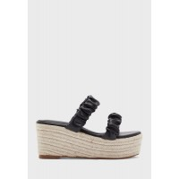Ginger Girl's black Scrunched Two Strap Wedge 6MJX95104