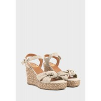 KANNA Womens off-white Casual Mid Heel Wedge Sandals H21MO7335